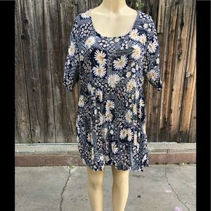 Weat seal floral dress blue and yellow